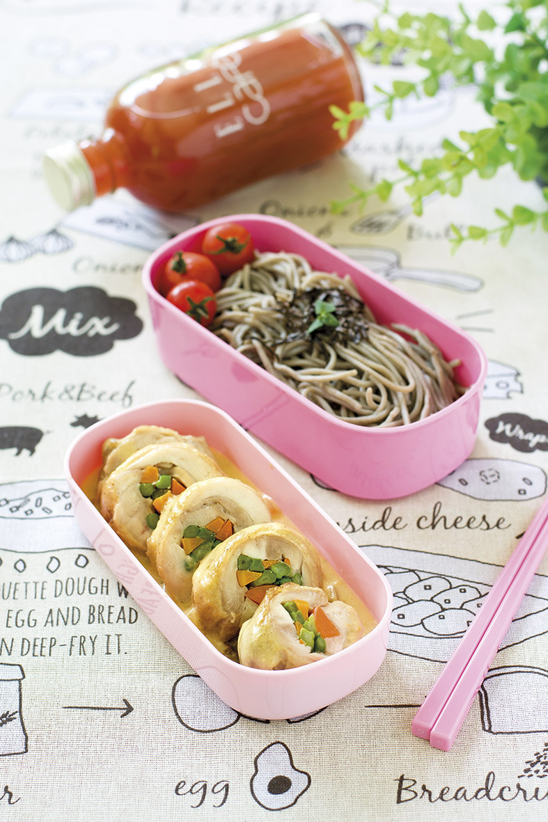 Chicken Veggie Roll Bento with Soba
