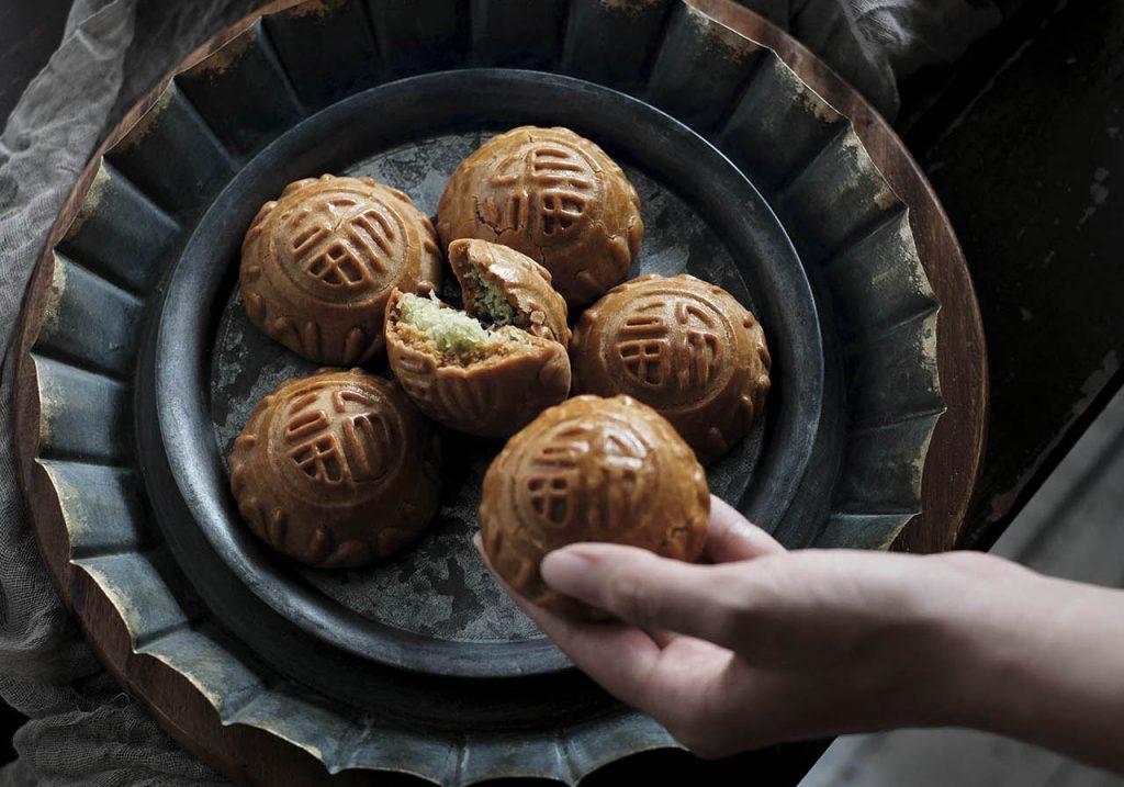 Baked Pandan Coconut Mooncakes