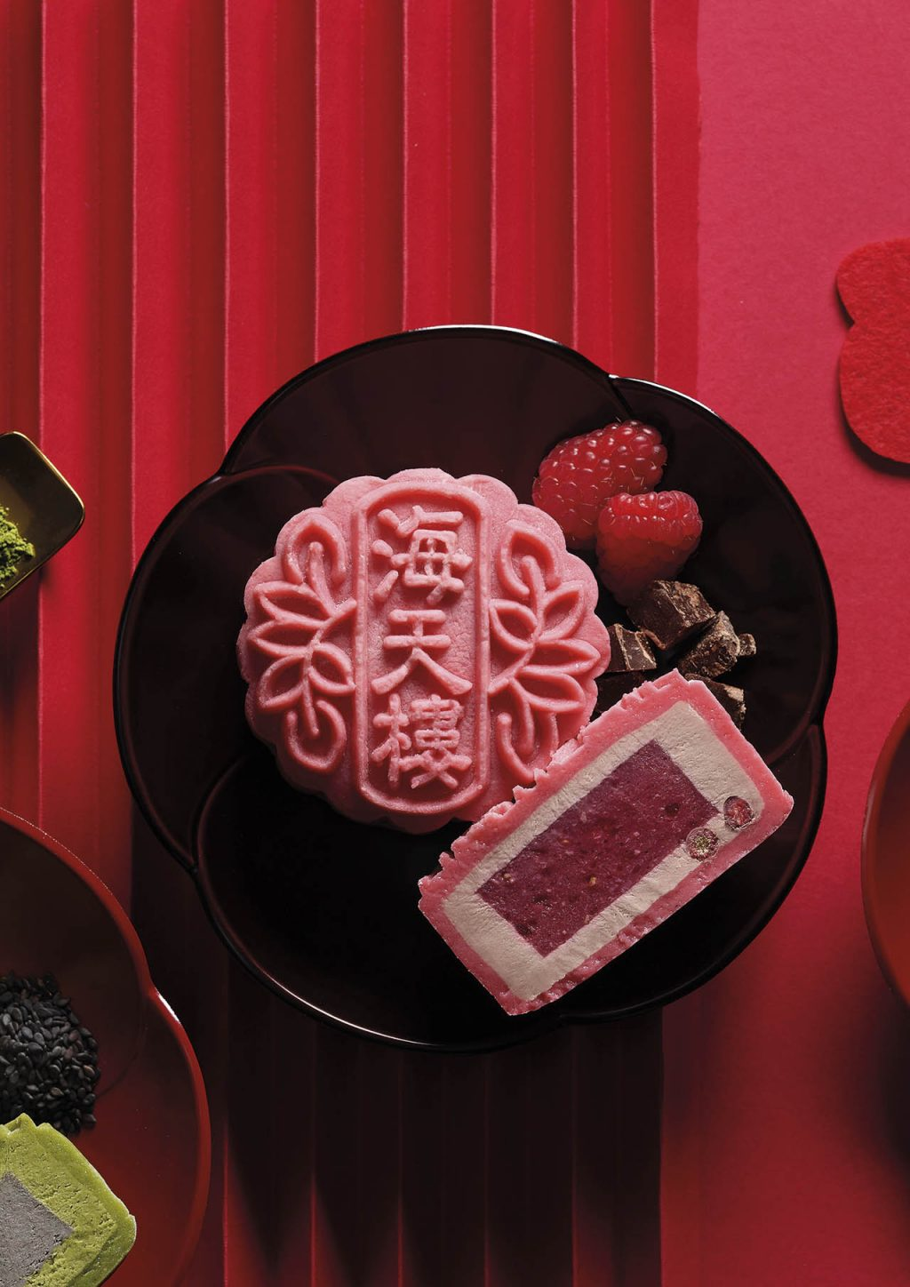 Raspberry Chocolate Snowskin Mooncakes